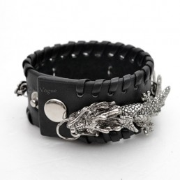 Mens leather bracelets BMLB-DR designed by Movable Dragon Black M1