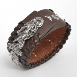 Mens leather bracelets BMLB-DR designed by Movable Dragon brown M