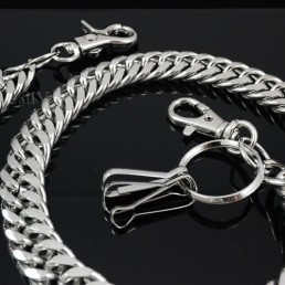 Heavy metal wallet chain for men womens Silver