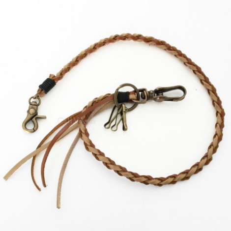 Wallet chain for Men women LT01 braided Twisted Leather Wallet chain Brown Beige M