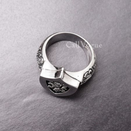 mens rings Shield Shaped ring wolf ring sword 925 sterling silver rings for men