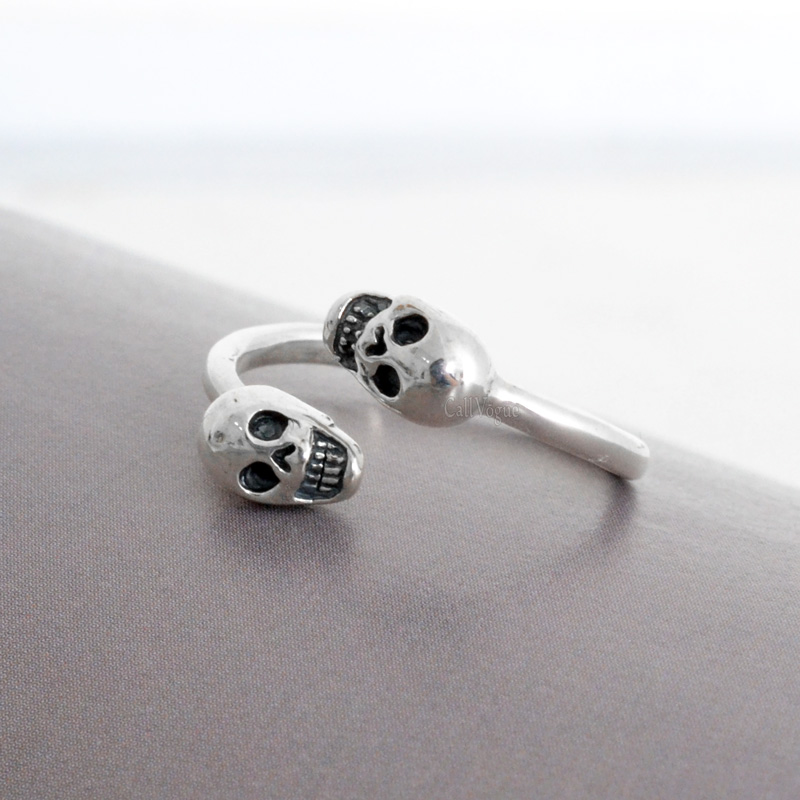 sterling silver Rings for women BMR39 Both Skull 925 sterling silver ring DE2