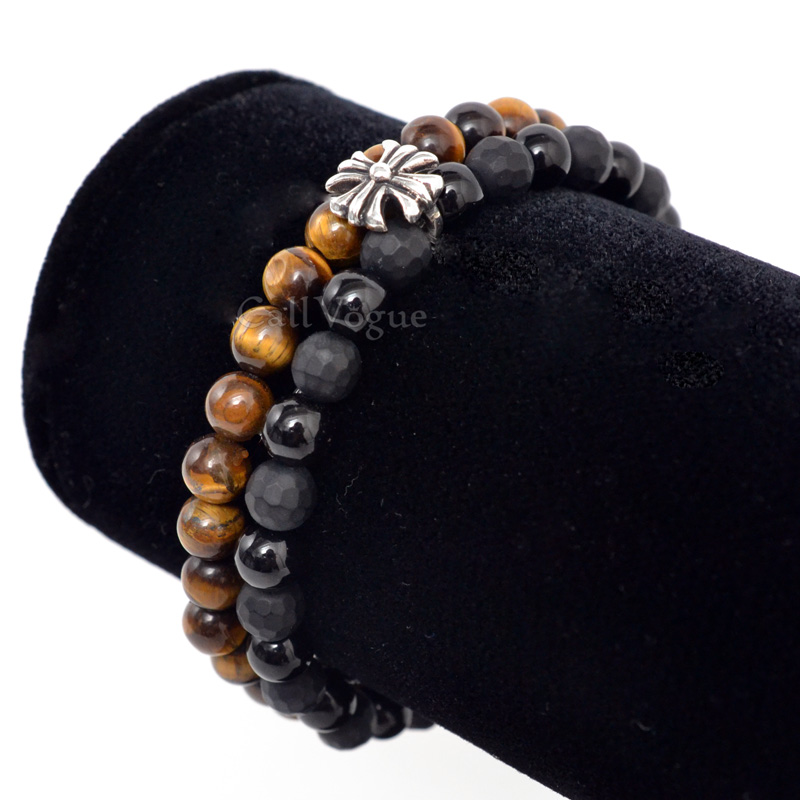 Gemstones beaded bracelets DGems-CrossOXTG Onyx Tigers eye cross sterling silver bracelet