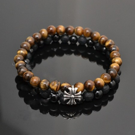 Gemstones beaded bracelets DGems-CrossOXTG Onyx Tigers eye cross sterling silver bracelet M