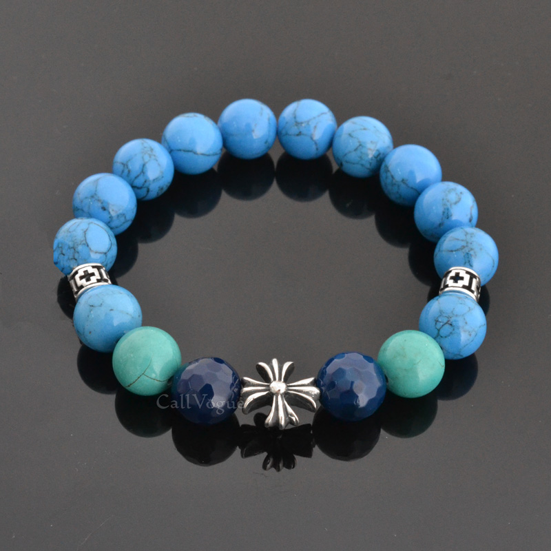 Beaded bracelets Gems-CroBH Blue Howlite Turquoise Faceted Round Agate CROSS 925 sterling silver Bracelet DE