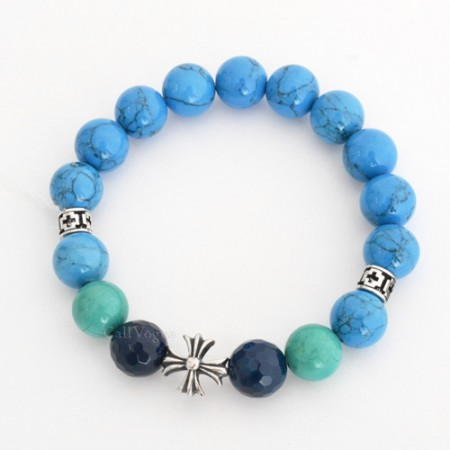 Beaded bracelets Gems-CroBH Blue Howlite Turquoise Faceted Round Agate CROSS 925 sterling silver Bracelet M1
