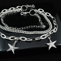 Chain wallet BIG star shape Triple chains for men women ST301S M
