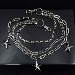 Chain wallet BLACK BIG star shape Triple chains for men women ST301B M