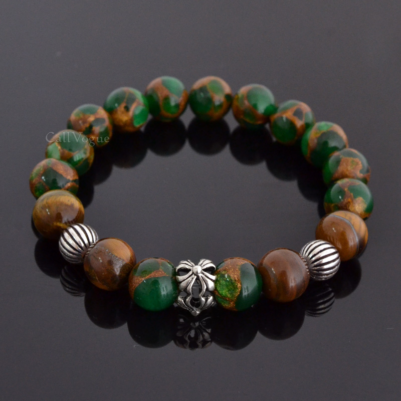 Gemstones beaded bracelets Gems-GNCro Green Gems Brown Tiger eye Templar Cross round ball sterling silver Bracelet M1