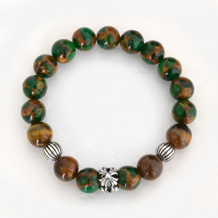 Gemstones beaded bracelets Gems-GNCro Green Gems Brown Tiger eye Templar Cross round ball sterling silver Bracelet