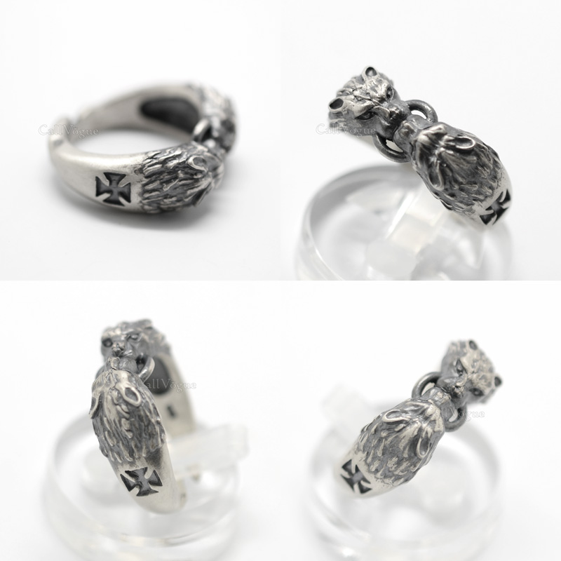 Mens Rings by sterling silver MR05 Two Wolves 925 sterling silver ring DE