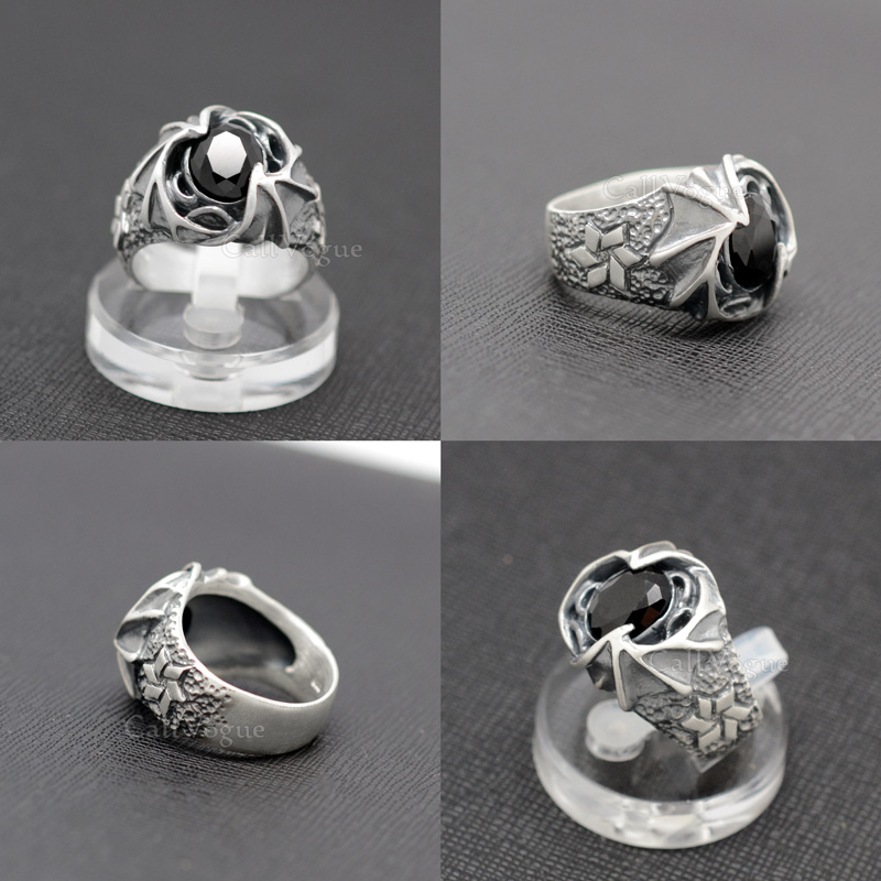 Mens rings by Sterling silver MR03 Onyx Surrounded by Dragon wing sterling silver Rings DE