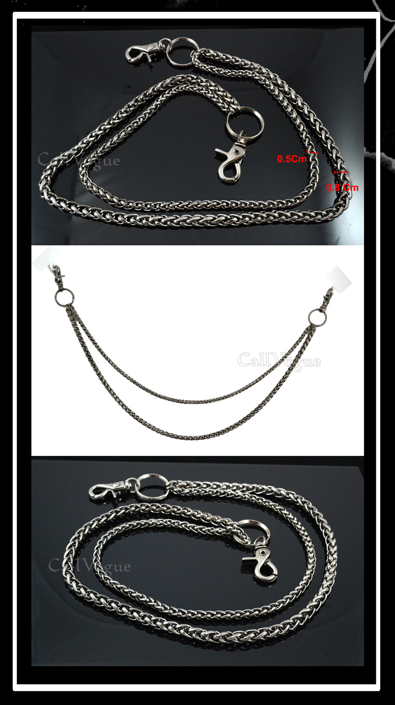 Wallet chains for Men women CH042B Basic ROPE Black double metal WALLET CHAIN DE