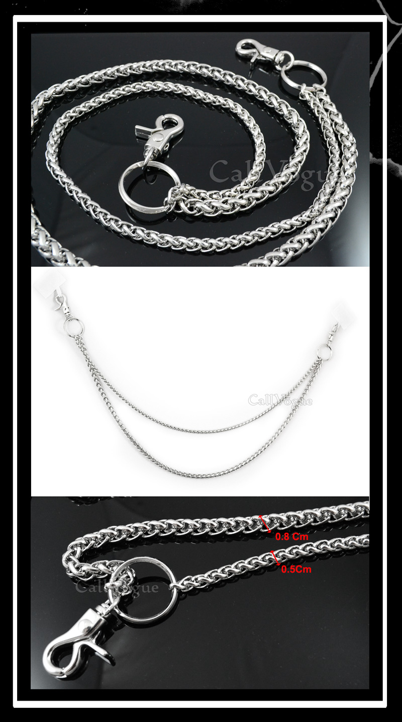 Wallet chains for Men women CH042S Basic ROPE Black double metal WALLET CHAIN DE