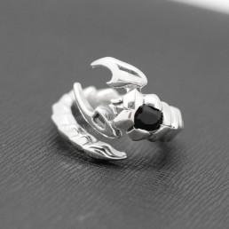 sterling silver Rings for men MR02 Onyx heart Scorpion 925 sterling silver ring M