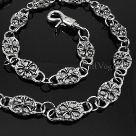 Wallet chain CR02R Chrome plated CIRCLE Medieval Knights Templar Cross Symbol wallet chains