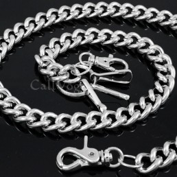 Coil wallet chain CH06S HEAVY THICK Silver metal Round coil Wallet chains M