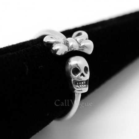 Skull ring BMR26 ribbon skull 925 sterling silver rings M