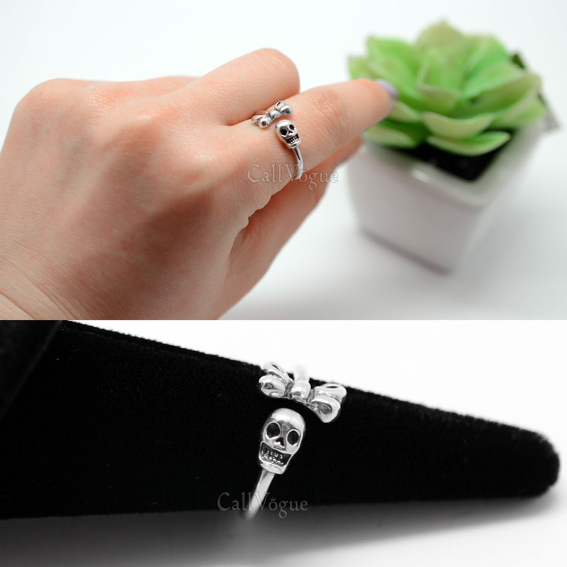 Ribbon rings skull 925 sterling silver rings for women
