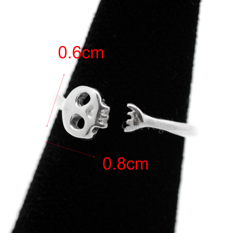 Skull rings open mouth mini skull 925 sterling silver ring