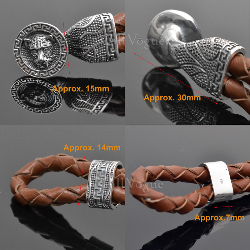 Sterling silver mens bracelets 925B-TiDLe Tiger 925 silver mens leather bracelets DETAIL