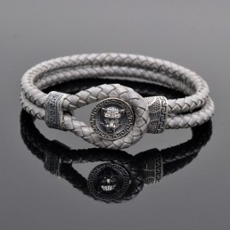Sterling silver mens bracelets 925B-TiDLeG Tiger 925 silver mens leather bracelets Gray M