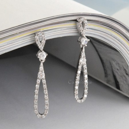 cubic zirconia tear dangle earrings 925 sterling silver earrings for women M3