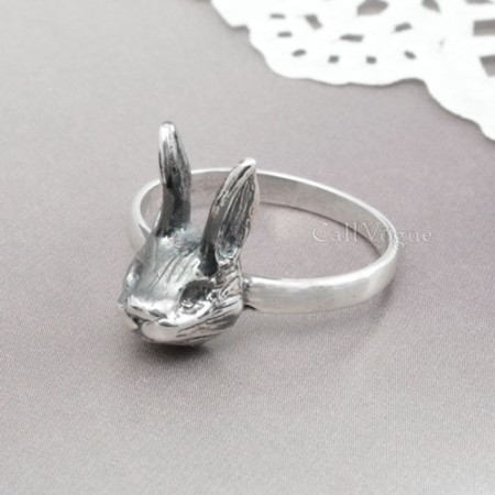 sterling silver Rings for women BMR-Rab Cute rabbit 925 sterling silver ring M