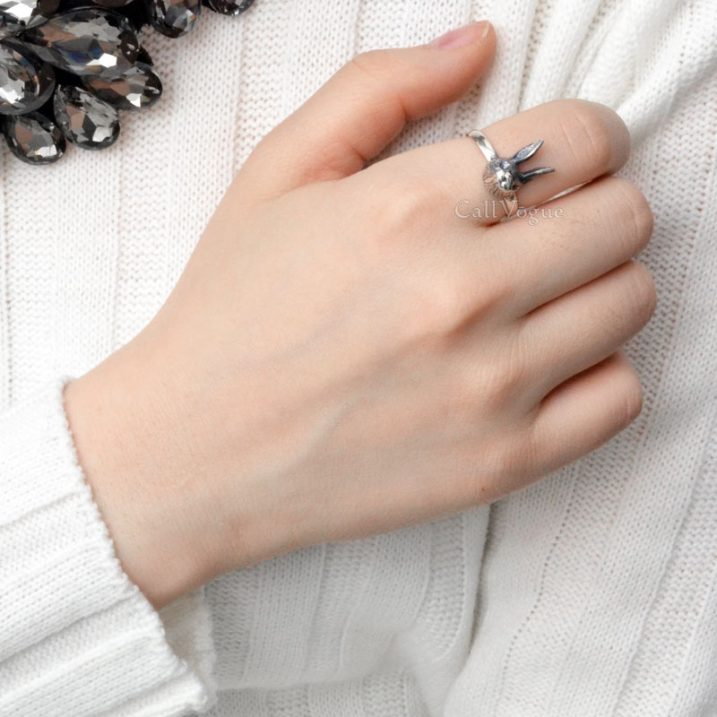 sterling silver Rings for women BMR-Rab Cute rabbit 925 sterling silver ring de1
