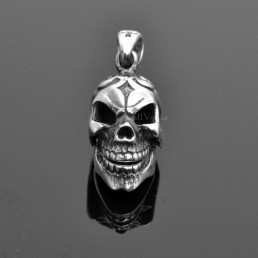 Skull Sterling silver charms Pendant 925P-MovSk Movable Mouth Creepy skull head STERLING SILVER PENDANT M