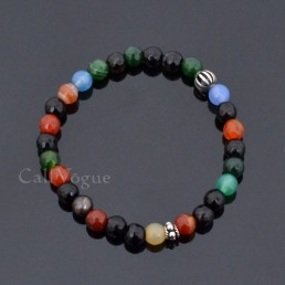 Sterling silver mens bracelets 925B-CA 925 silver ball colorful agate gemstones bracelet M