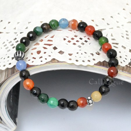 Sterling silver mens bracelets 925B-CA 925 silver ball colorful agate gemstones bracelet M1