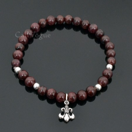 Garnet Gemstones beaded bracelets 925B-GarIn slim Garnet insignia 925 sterling silver bracelet for women M2