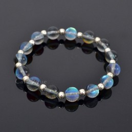 Moonlight opal gemstones beaded bracelets GemsOPBa 925 sterling silver ball silver bracelet M