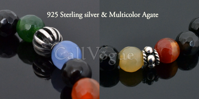 Sterling silver mens bracelets 925 silver ball multicolor faceted agate gemstones beaded bracelet