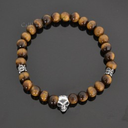 Brown tiger eye mini skull sterling silver bracelets