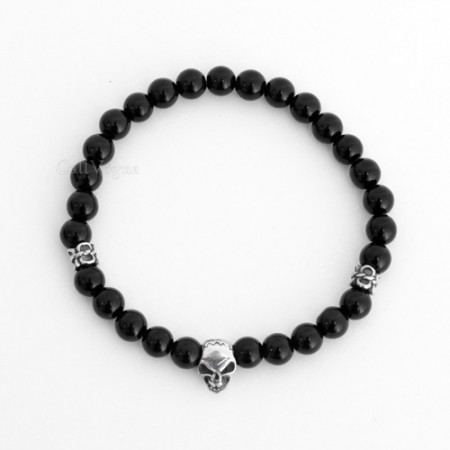 slim gemstones beaded bracelets Gems-OxMiniSk black onyx mini skull 925 sterling silver bracelet M3