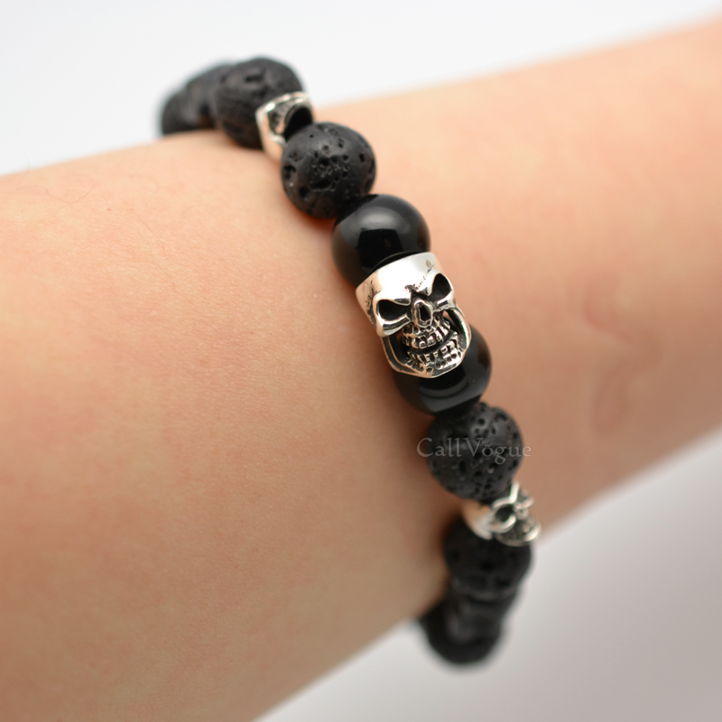 Triple Sterling Silver Skull Bracelet Black