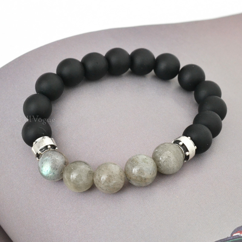 Chic Sterling silver Onyx Labradorite beaded Bracelets Callvogue