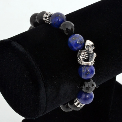 Hug Skull Bone Sterling Silver Beaded Bracelets
