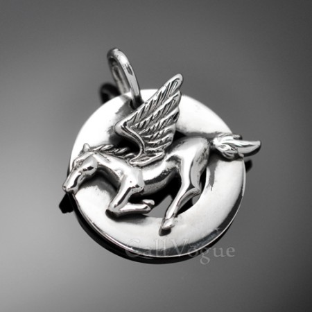 Sterling silver charms Pendant 925P-RUC Round Unicorn 925 Silver necklaces charm M