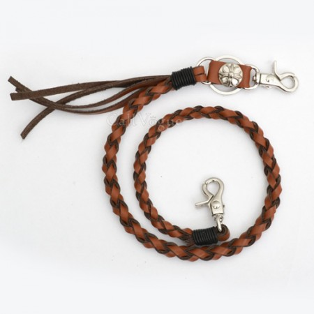 Wallet chain for Men women LT02CM braided Twisted Leather Wallet chain vintage Cross