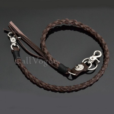 Wallet chain for Men women LT02DB braided Twisted Leather Wallet chain vintage Cross