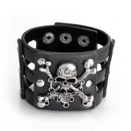 Mens leather bracelets Rose Skull Black leather bracelet