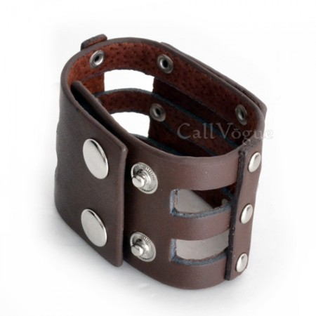 Mens leather bracelets Rose Skull brown leather bracelet