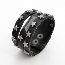 Mens leather bracelets BMLB-SStar Star Thick Leather Men Bracelet Black M