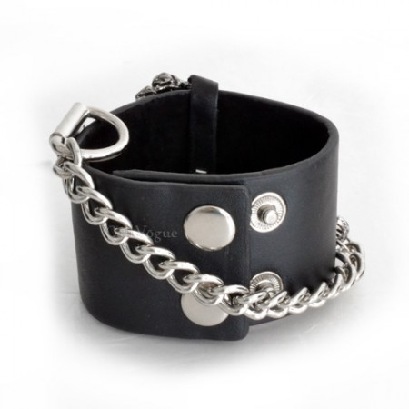 Mens leather bracelets Big skull hand chain leather mens bracelet black