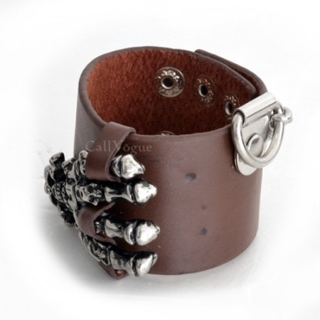 Mens leather bracelets BMLB-SkHand Big skull hand chain leather mens bracelet brown