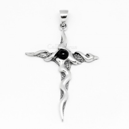 Cross Sterling silver charms Pendant 925P-OXCro Black onyx wave cross 925 Silver necklaces charm