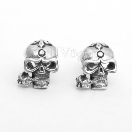 skull earring Rose skull head 925 sterling silver earring